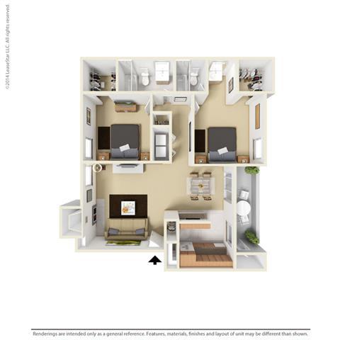 B3 - 2 bedroom 2 bath Floor Plan at Park at Caldera, Texas, 79705
