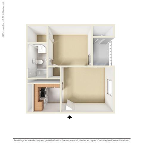 E1 - Studio bedroom 1 bath Floor Plan at Park at Caldera, Midland, TX