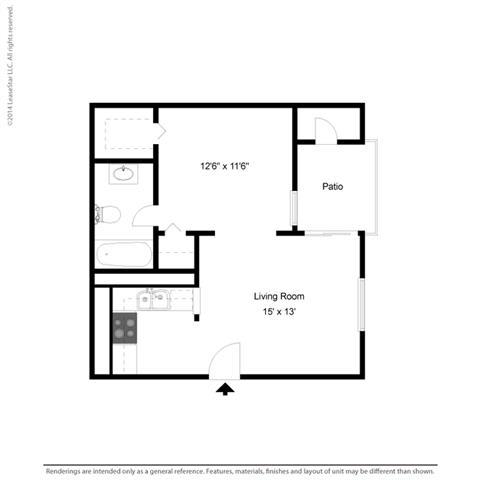 E1 - Studio bedroom 1 bath Floor Plan at Park at Caldera, Midland, 79705