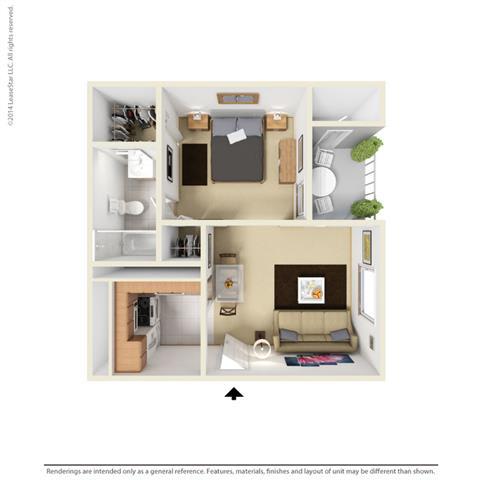 E1 - Studio bedroom 1 bath Floor Plan at Park at Caldera, Midland, Texas