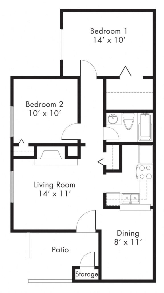 B1 - 2 bedroom 1 bath Floor Plan at University Gardens, Odessa, TX