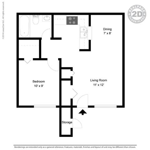 A1 - 1 bedroom 1 bath Floor Plan at University Gardens, Texas