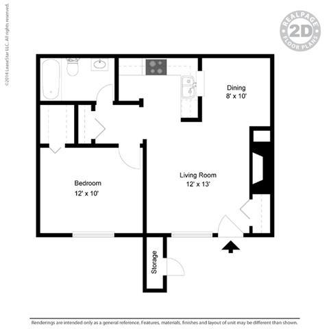 A2 - 1 bedroom 1 bath Floor Plan at University Gardens, Odessa, TX, 79761