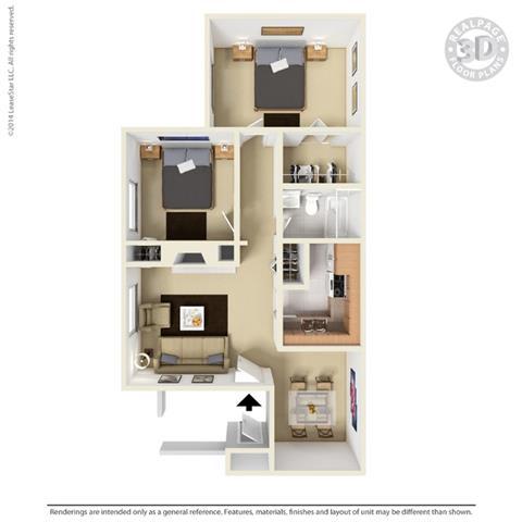 B1 - 2 bedroom 1 bath Floor Plan Floor Plan at University Gardens, Odessa, TX
