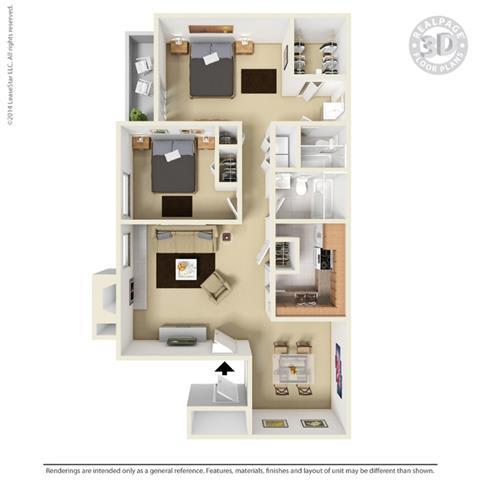 B2 - 2 bedroom 2 bath Floor Plan Floor Plan at University Gardens, Texas