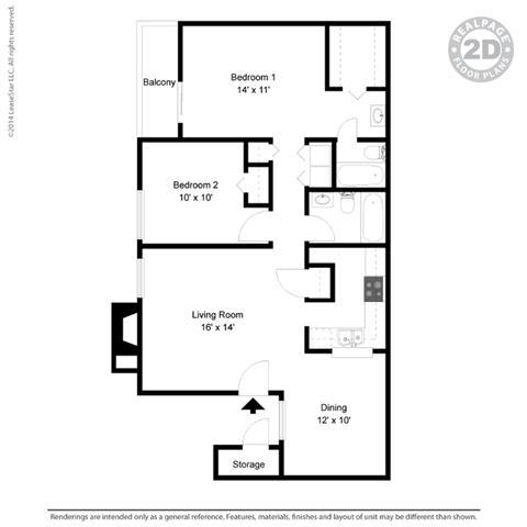 B2 - 2 bedroom 2 bath Floor Plan at University Gardens, Odessa, Texas