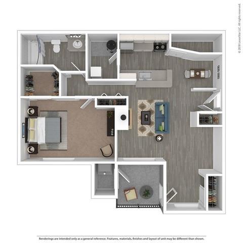 1 Bed 1 Bath The Arbor Floor Plan at Orion MainStreet, Ann Arbor, MI, 48103