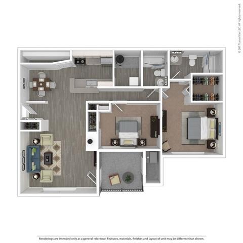 2 Bed 2 Bath The Barton Floor Plan at Orion MainStreet, Ann Arbor, MI