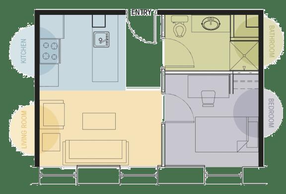 One Bedroom One Bath Floor Plan Lofts @ 5 Lyon Grand Rapids Michigan