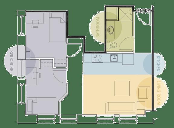Two Bedroom One Bath Floor Plan Lofts @ 5 Lyon Grand Rapids Michigan
