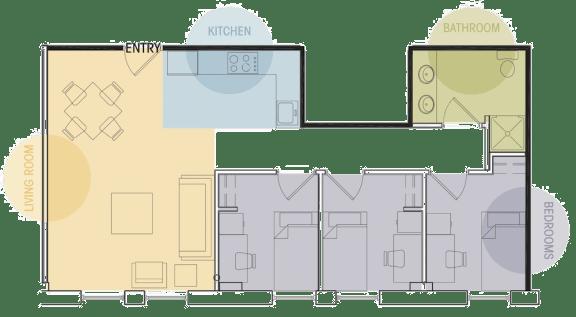 Three Bedroom One Bath Floor Plan Lofts @ 5 Lyon Grand Rapids Michigan