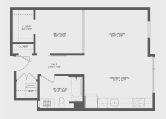 1 Bed 1 Bath Aft Floor Plan at The Gantry, San Francisco, CA