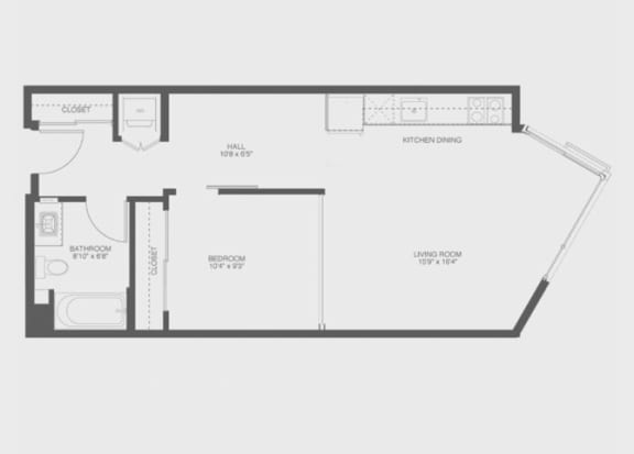 1 Bed 1 Bath Babbet Floor Plan at The Gantry, San Francisco, CA, 94107