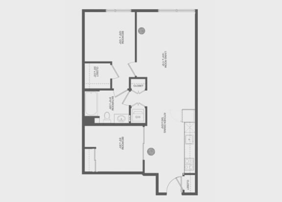 2 Bed 1 Bath Kevel Floor Plan at The Gantry, California