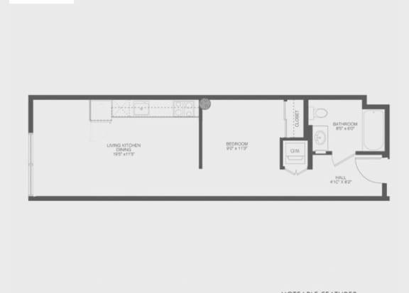 Transom Studio Floor Plan at The Gantry, San Francisco, CA, 94107