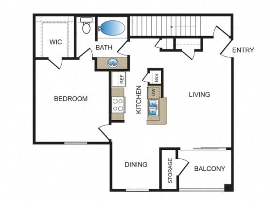 Floor Plan  A2 at Kensley Apartment Homes
