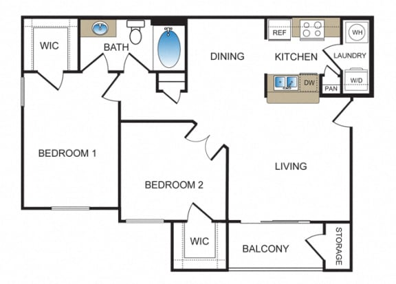 Floor Plan  B1 at Kensley Apartment Homes