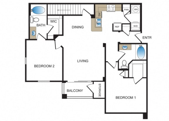 Floor Plan  B2 at Kensley Apartment Homes