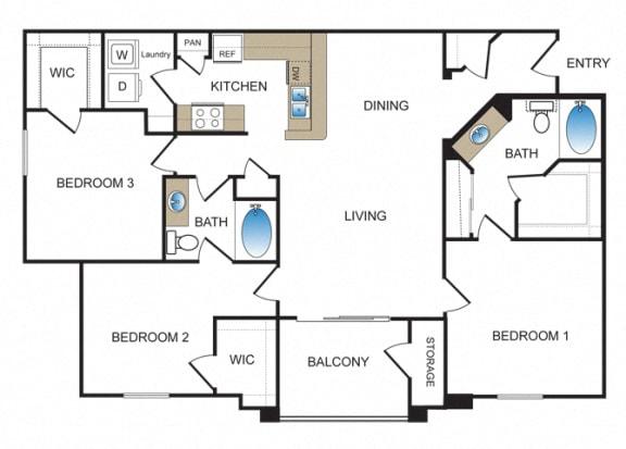 Floor Plan  C1 at Kensley Apartment Homes