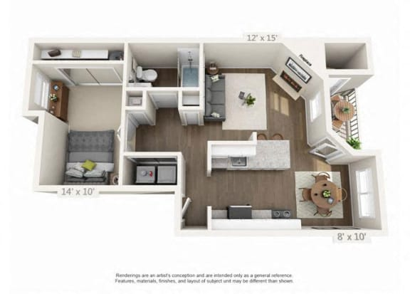 1 Bed 1 Bath Floor Plan at Heatherbrae Commons, Milwaukie, OR