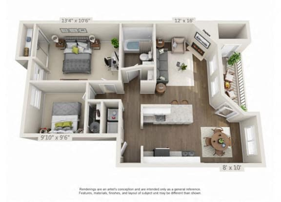 2 Bed 1 Bath Floor Plan at Heatherbrae Commons, Milwaukie, Oregon
