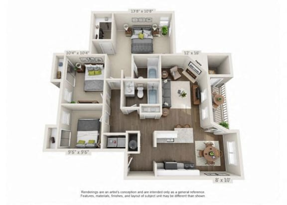 3 Bed 2 Bath Floor Plan at Heatherbrae Commons, Milwaukie, OR, 97222