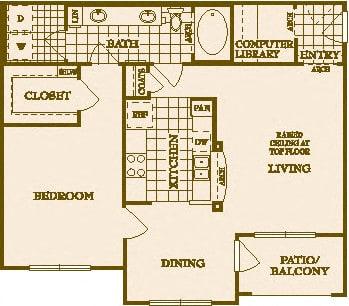 Floor Plan  One Bed One Bath A2 Floor Plan at Villas at Stone Oak Ranch, Austin, TX, 78727