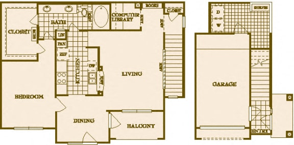 One Bed One Bath A5 Floor Plan at Villas at Stone Oak Ranch, Austin, Texas