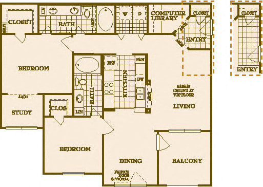 Two Bed Two Bath B5 Floor Plan at Villas at Stone Oak Ranch, Texas, 78727