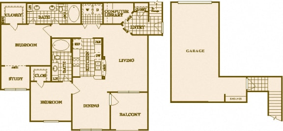 Two Bed Two Bath B6 Floor Plan at Villas at Stone Oak Ranch, Texas