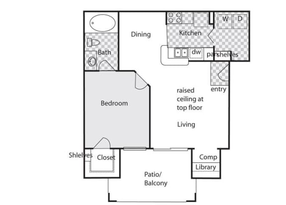 One Bed One Bath A Floor Plan at Villas at Stone Oak Ranch, Texas, 78727