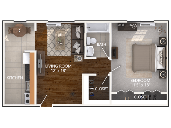 1 Bedroom Floor Plan at Connecticut Plaza Apartments in Washington, DC