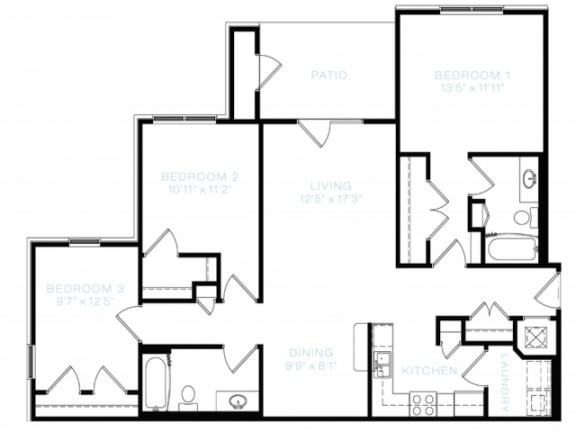 Three Bedroom   Two Bathroom Floor Plan at The Standard at Whitehouse, Tennessee, 37188