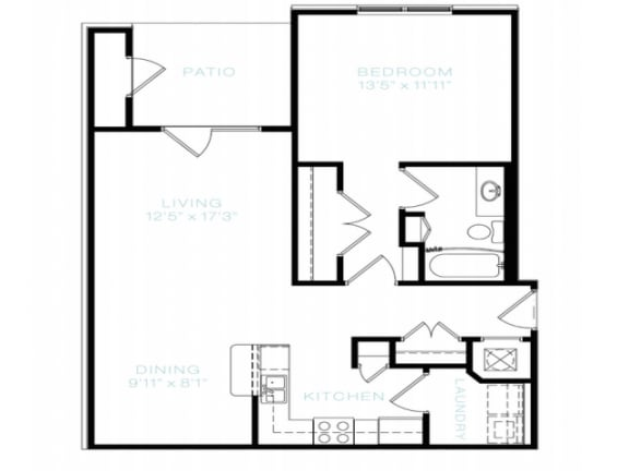 One Bedroom   One Bathroom Floor Plan at The Standard at Whitehouse, Whitehouse