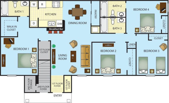 Ponce Harbor Four Bedroom Three Bath Apartment Home