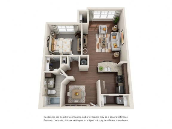 Floor Plan  One Bedroom | One Bathroom | Equus Run Floor Plan at The Gentry at Hurstbourne, Kentucky, 40222