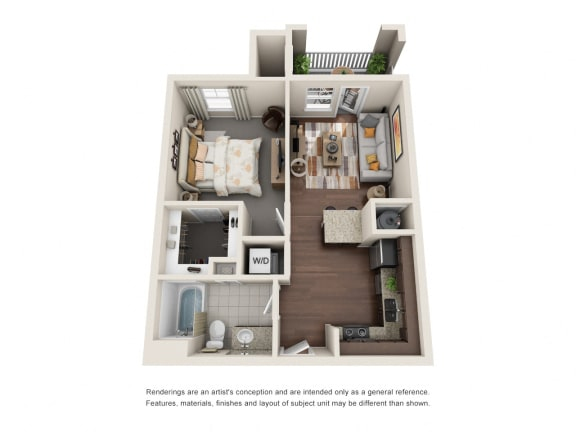 Floor Plan  One Bedroom | One Bathroom | Serendipity Floor Plan at The Gentry at Hurstbourne, Louisville