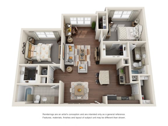 Floor Plan  Two Bedroom | Two Bathroom | Springhill Floor Plan at The Gentry at Hurstbourne, Louisville, KY