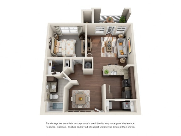 Floor Plan  One Bedroom | One Bathroom | Syrah Floor Plan at The Gentry at Hurstbourne, Louisville, Kentucky