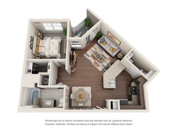Floor Plan  One Bedroom | One Bathroom | Verona Floor Plan at The Gentry at Hurstbourne, Kentucky