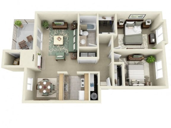 Floor Plan  Montair at Somerset HillCrystal|2Bed/1Bath