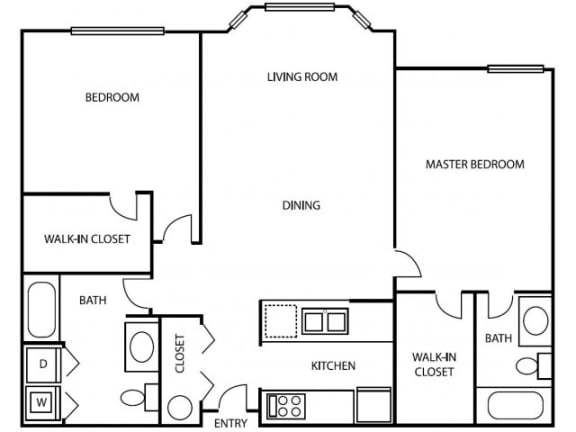 Floor Plan  2 Bedroom 2 Bathroom B2 Floorplan at Axcess 15 Apartments, 1500 Northeast 15th Avenue, Oregon