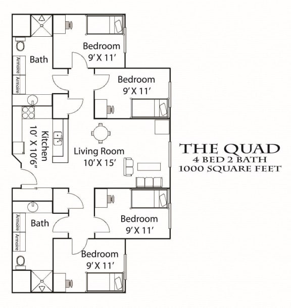 Floor Plan  Quad Floorplan Bierman Place Apartments in Minneapolis, MN_Quad