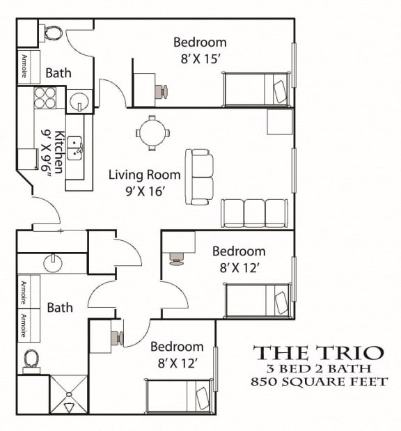 Floor Plan  Trio Floorplan Bierman Place Apartments in Minneapolis, MN_Trio