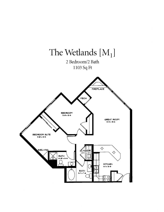 Floor Plan  The Wetlands With Fireplace Floorplan at Waterstone Place, Minnesota, 55305