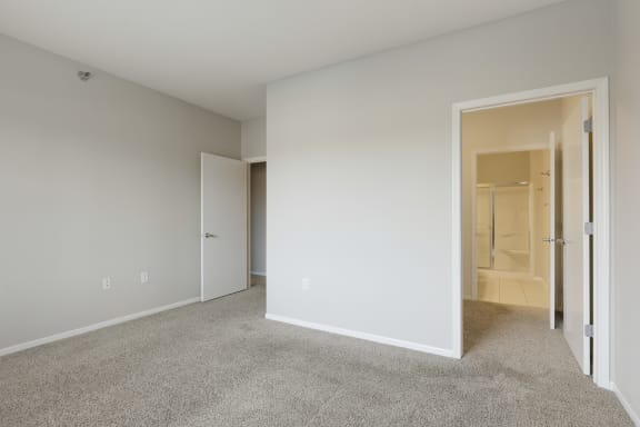 Master bedroom with walk-in closet and private bath at Waterstone Place, Minnetonka, MN, 55305