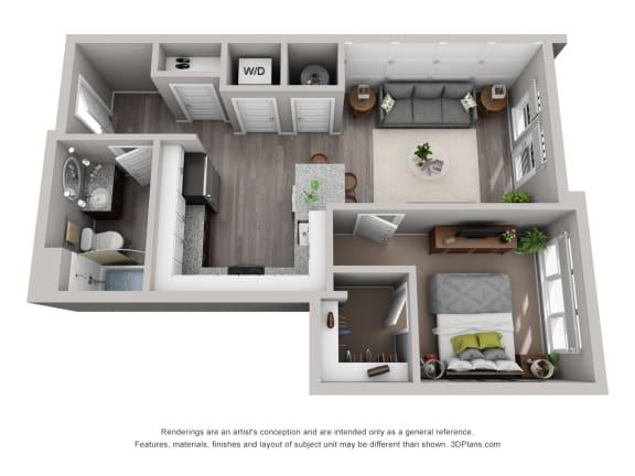 Floor Plan  Carter Floor Plan at CityWay with 1-bedroom and 1-bathroom