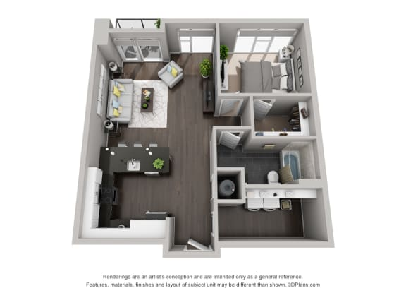Floor Plan  One bedroom apartment in Downtown Indianapolis - CityWay