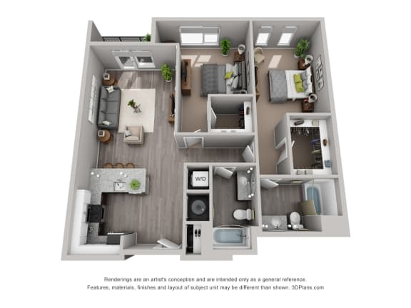 Floor Plan  Meridian Floor Plan is a 2 Bed, 2 Bath Option at 1,394 Square Feet