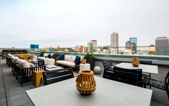 Rooftop tables and chairs at CityWay Indiana, 46204